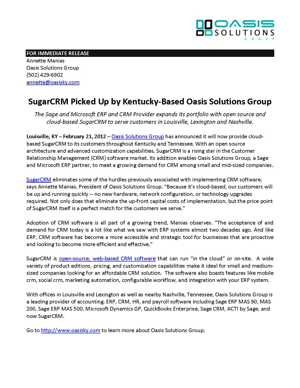 Oasis - SugarCRM Press Release