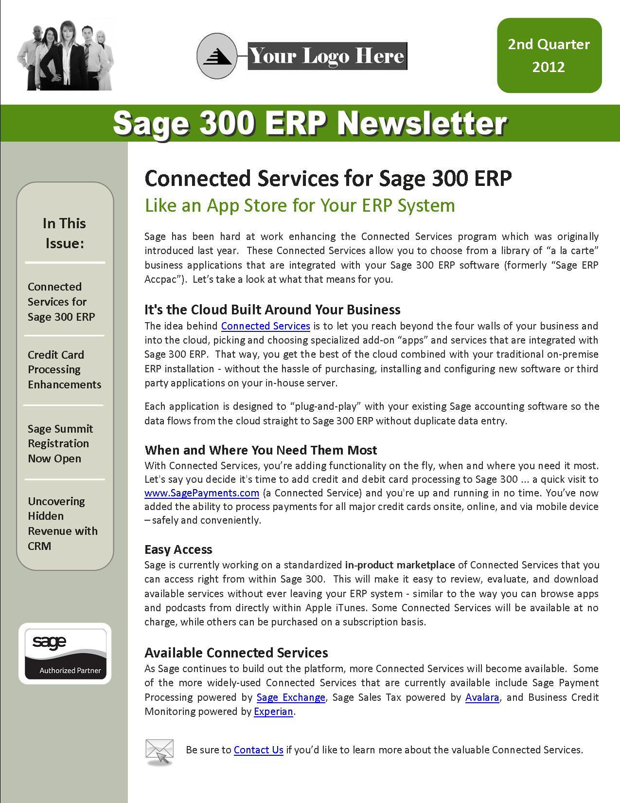 Sage 300 ERP Newsletter - 2nd Quarter
