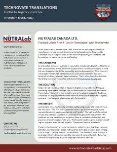 Technovate Translations - NutraLab