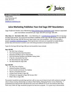 Sage 100 and 300 ERP Year End Newsletters Available