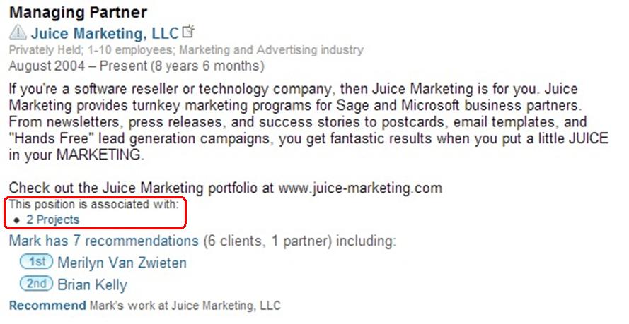 Work Experience on LinkedIn