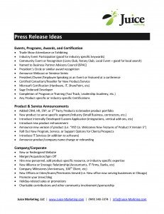 Press Release Writing Ideas