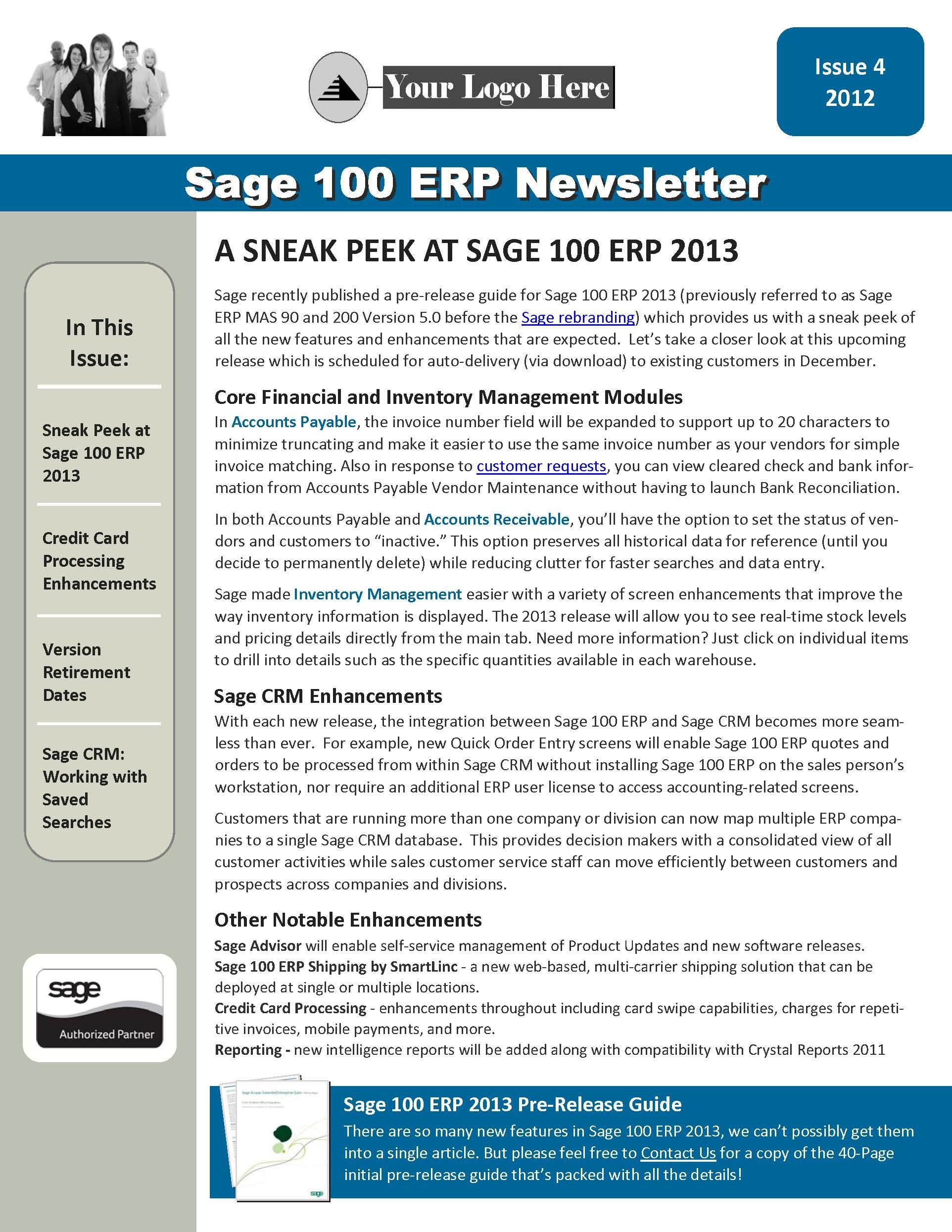 Sage 100 ERP Newsletter - Q3 2012