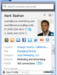 XOBNI - As you click to read email, you see the senders profile on LinkedIn, Twitter, etc. right in Outlook.