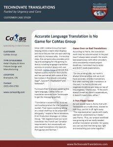 Technovate Translations - CoMas Group Success Story